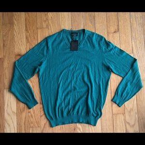 Massimo Dutti Green Silk Cotton V-neck Sweater M